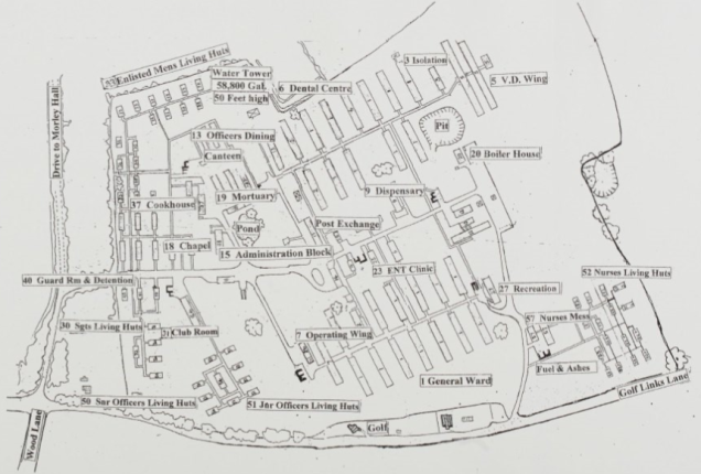 A map of the hospital complex, showing the various wards and living quarters