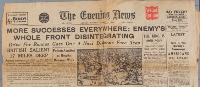 "3 Aug. 1944 front page of The Evening Times, headine reads ""More Successes Everywhere: Enemy's Whole Front Disintegrating"""