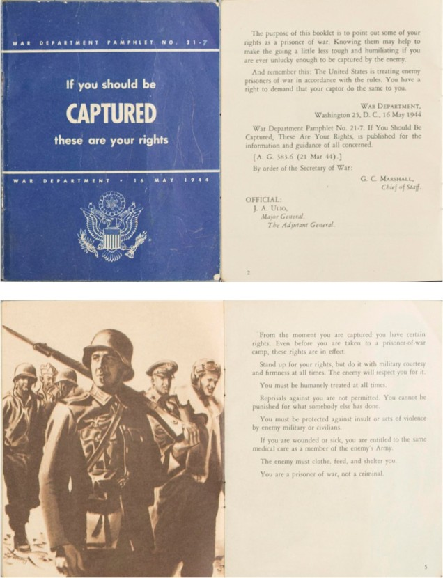 "1944 War Department Booklet, ""If you Should be Captured these are your rights"""
