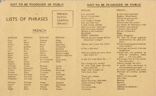 Military translation card, showing list of phrases in English with accompanying French